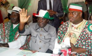 From left: Chairman of PDP in Plateau, Chief Damishi Sango; former Governor of Plateau, Sen. Jonah Jang; and Amb. Chris Giwa, during the home-coming reception in honour of Amb. Giwa to PDP in Jos on Thursday (22/6/17). 22/6/2017/Sunday Adah/BJO/NAN