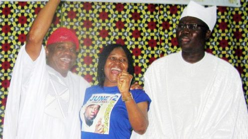 Chairman of the occasion/former Governor of Abia, Dr Orji Kalu; National Coordinator, Otunba Gani Adams; and President, Women Arise, Dr Joe Okei-Odumakin, during a public lecture titled: 'MKO as a Symbol of Freedom in the History of Nigerian Democracy', in commemoration of the anniversary of the June 12, 1993 Presidential Election, in Lagos on Monday (12/6/17). 03185/12/7/2017/Wasiu Zubair/JAU/BJO/NAN