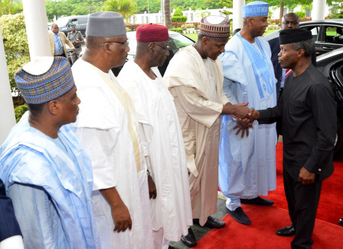 From left: Minister of Defence, retired Brig.-Gen. Mansur Muhammed Dan-Ali; minister of interior, retired Lt.-Gen. Abdulrhaman Dambazzau; chief of staff to the President, Alhaji Abba Kyari; Speaker, House of Representative Yakubu Dogara; Senate President Bukola Saraki; and Acting President Yemi Osinbajo, onarrival for the meeting of Northern Leaders of Thought with the Acting President at the State House conference hall in Abuja on Tuesday (13/6/17).  03219/13/6/2017/Ibrahim Sumaila/OTU/HB/BJO/NAN