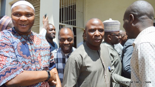 Supporters of the Senate President, Bukola Saraki in jubilant mood after the Code of Conduct Tribunal sitting in Abuja discharged and acquitted him of 18-count charge of non-declaration of assets, in Abuja on Wednesday (14/6/17). 03226/14/6/2017/Ernest Okorie/BJO/NAN