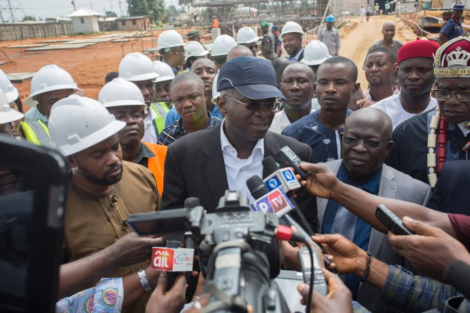 FILE PHOTO: Hon. Minister of Power, Works & Housing, Mr Babatunde Fashola, SAN(middle)flanked by the Managing Director/Chief Executive Officer, Afam Power Plc, Engr. Olumide Noah Obademi (2nd right), Hon. Member House of the Rivers State House of Assembly ,  Promise Chisom Dike (left) , Deputy to the Paramount Ruler,  Okolima Ndoki Afam Community, Oyigbo LGA, Chief Peter Josiah JP(right) and others  as he speaks with journalists shortly after inspecting the various sections and projects within Afam Power Plc in  Afam, Port Harcourt, Rivers State on Thursday 8, June 2017.