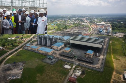 Aerial view of the Afam Power Plc. INSET: Hon. Minister of Power, Works & Housing, Mr Babatunde Fashola, SAN (2nd left), Managing Director/Chief Executive Officer, Afam Power Plc, Engr. Olumide Noah Obademi (left), the Secretary to Oyigbo Local Government of Rivers State, Mr Chikwen TheophilIus and others during the inspection tour of the Afam Power Plant in Afam, Port Harcourt, Rivers State on Thursday 8th, June 2017.