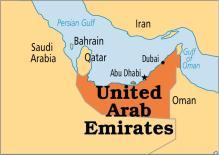 United Arab Emirates (UAE) on map