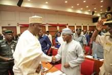 Senate president, Bukola Saraki (L) with Comptroller-General of Customs Service, Hameed Ali (R)