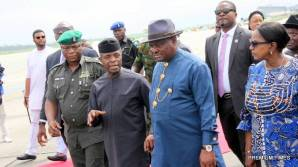 L-R: Acting President Yemi Osinbajo, Rivers State Governor, Nyesom Ezenwo Wike and Deputy Governor Ipalibo Harry Banigo during an airport reception for the Acting President in Port Harcourt on Thursday.