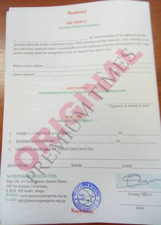 A copy of the forms offered to senators