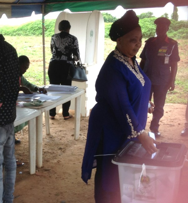Modupe Adeleke casting her vote