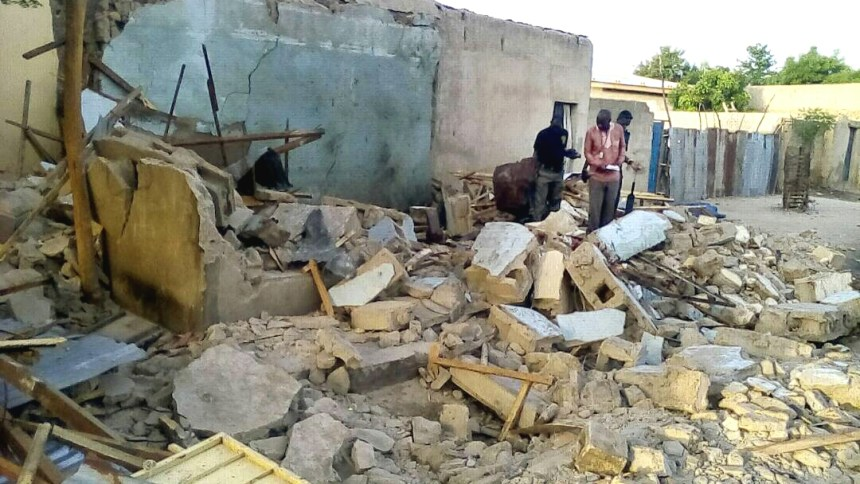 Remains of a mosque hit by a suspected female suicide bomber during an early morning prayer at Londonciki-Simari area of Maiduguri on Monday