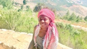 Priscilla Alabi in Israel's northern town of Metula on the border of Israel and Lebannon.
