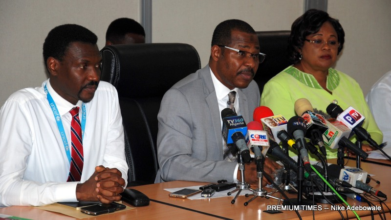 L-R: Dr. Modibo Kassougu, Chief of Health, UNICEF, Dr. Faisal Shuaib, Executive Director and Chief Executive, National Primary Health Care Development Agency and Dr. Dorothy Nwodo, Director, Disease Control & Immunisation NPHCDA at the Inauguration of National Emergency Routine Immunisation Coordination Centre (NERICC) at NPHCDA Headquarters, Abuja, Today Tuesday, 4th July, 2017.