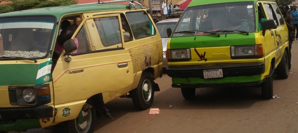 A Bus parked at Ahmadu Bello way, Kaduna used to illustrate the story