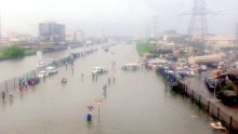 Flooded streets of Lagos as seen on Twitter.