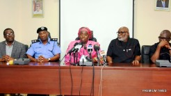 Lagos State Deputy Governor, Dr. (Mrs) Oluranti Adebule (middle), Ondo State Governor, Mr. Rotimi Akeredolu (2nd right); his Deputy, Mr. Alfred Agboola (right); Commissioner of Police, Lagos, Mr. Fatai Owoseni (2nd left) and Commissioner for Information & Strategy, Mr. Steve Ayorinde (left) during a media briefing on the release of the Igbonla Model College Students at the Round House, the Secretariat, Alausa, Ikeja on Friday, July 28, 2017.