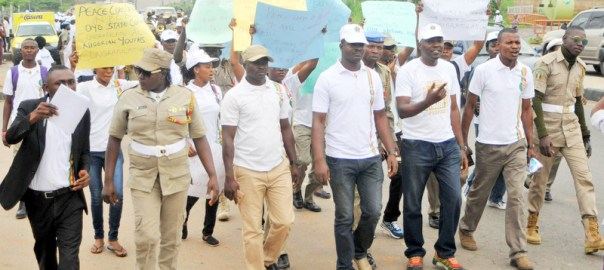 Pic 12. Members of the Nigerian Peace Corps during a procession in Ibadan on Wednesday (26/7/17) to celebrate the passage of the Corps bill by the Senate.  03800/26/7/17/Adeogodiran Timothy/HB/BJO/NAN