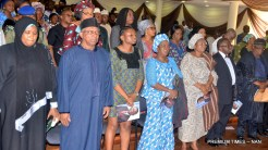 From left: Permanent Secretary, Federal Ministry of Health, Hajiya Binta Adamu; Minister of State for Health, Dr Osagie Ehanire; Daughter of late Prof. Babatunde Osotinmehin, Mrs Kehinde Olorunleke; a friend of Osotinmehin family, Mrs Wemimo Beckley; the widow, Mrs Olufunke Osotinmehin; Minister of Health, Prof. Isaac Adewole and former Minister of Health, Prof. Eyitayo Lambo, at a tribute in honour of Prof Osotinmehin organised by the Ministry of Health in Abuja on Friday (14/7/17).03542/14/7/2017/Johnson Udeani/ICE/NAN