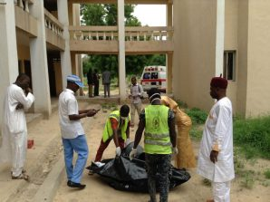 Borno State Management Agency (SEMA) officials evacuating body of a male suicide bomber at the BOT Hostel, University of Maiduguri on Monday (24/7/17). 03740/24/7/2017/Suleiman Hamza/DKO/ICE/NAN