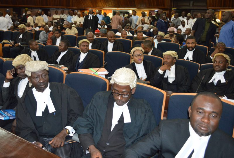 Lawyer at the Supreme Court sitting in Abuja on Wednesday (12/7/17), which sacked the National Chairman of the opposition PDP, Sen. Ali Modu Sheriff and declared Caretaker Committee Chairman of the party, Sen. Ahmed Makarfi as authentic leader of the party. 03464/12/7/2017/Ernest Okorie/BJO/NAN