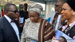Minister of Health, Prof. Isaac Adewole (L) consoling Mrs Olufunke Osotimehin, widow of Executive Director of United Nations Population Fund (UNFA), Prof. Babatunde Osotimehin, during a memorial programme by UN Systems for the deceased in Abuja on Friday (14/7/17). With them are family friends, Mr Adebisi Ogunniyi and Dr Folake Majekodunmi. 03528/14/7/17/Jones Bamidele/NAN