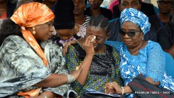 United Nations Population Fund (UNFA) Representative in Nigeria, Dienne Keita (L) and a family member, Mrs Wemimo Beckley (R) consoles Mrs Kehinde Olorunleke, a daughter of late Executive Director of UNFA, Prof. Babatunde Osotimehin, during a memorial programme by UN Systems for the deceased in Abuja on Friday (14/7/17). 03529/14/7/17/Jones Bamidele/NAN