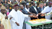 FROM LEFT: Former President Olusegun Obasanjo; Minister of Agriculture, Chief Audu Ogbeh; Director General, International Institute for Tropical Agriculture (IITA), Dr Nteranya Sanginga; Chairman, IITA AT 50, Dr Kwesi Atta-Krah; Former Head of State, Gen Yakubu Gowon; President, African Development Bank, Dr Akinwumi Adesina; Chairman, IITA Board of Trustees, Dr Bruce Coulman and Oyo state Deputy Governor, Chief Alake Adeyemo cutting the 50th anniversary cake of IITA in Ibadan on Monday. 03746/24/7/17/Timothy Adeogodiran/ICE/NAN