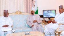 President Muhammadu Buhari having a great laugh