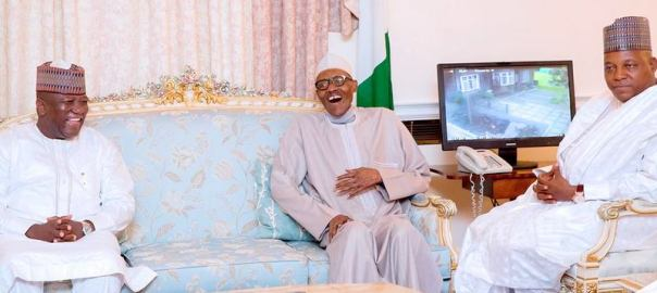 President Muhammadu Buhari having a great laugh