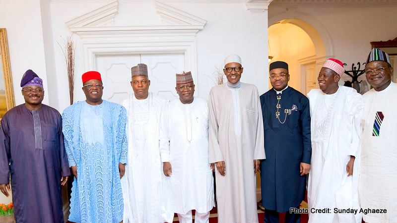L-R: Oyo State Governor, Abiola Ajimobi, David Umahi of Ebonyi State, Kashim Shettima of Borno State, Abdulaziz Yari of Zamfara, President Muhammadu Buhari, Akwa State Governor, Udom Emmanuel, Abdullahi Ganduje of Kano State and Benue State governor, Samuel Ortom