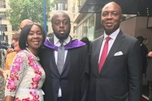 Bukola Saraki, Toyin Saraki and Seni Saraki at London School of Economics [Photo: Wapextra]