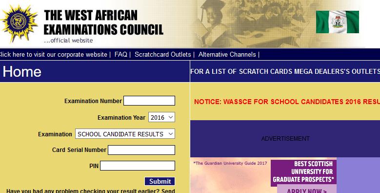 A screenshot of WAEC website