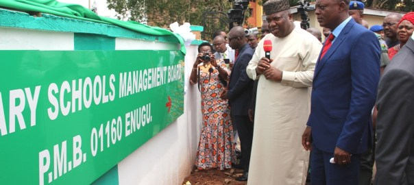 Governor Ifeanyi Ugwuanyi of Enugu State, speaking shortly after unveiling the new Post Primary Schools Management Board (PPSMB) office complex in Enugu, yesterday. By his immediate left is the chairman of the board, Barr. Nestor Ezeme.