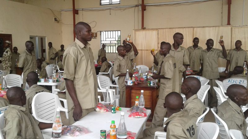 Suspected 53 Boko Haram insurgents who surrendered, during their breakfast before their transfer to Army rehabilitation Center in Maiduguri on Saturday (8/7/17). 03374/8/7/2017/Rabiu Sani/ICE/NAN