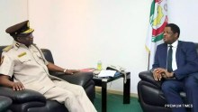 Muhammed Babandede, Controller-General of the Nigerian Immigration Service (left) having a 'tete a tete' with H.E. Marcel de Souza, President, ECOWAS Commission, when he visited the commission in Abuja, 10th October, 2016