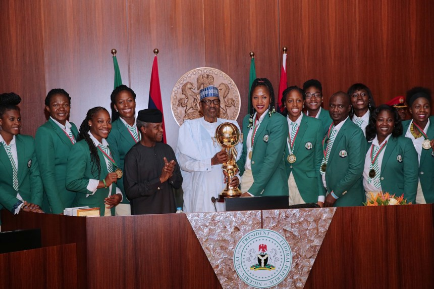 President Buhari and Vice President Osinbajo receive African champions D'Tigress on Wednesday.