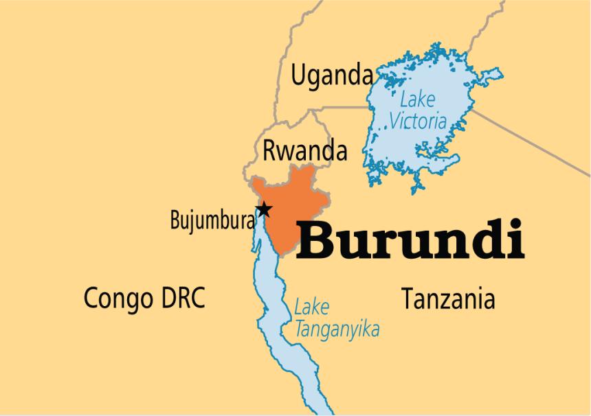 Burundi on map