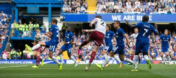 Burnley's Stephen Ward fires in the second goal. Photograph: Craig Mercer/CameraSport/Getty Images