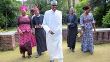 Buhari strikes a pose with Lai Mohammed, Garba Shehu, Abike Dabiri in new photo