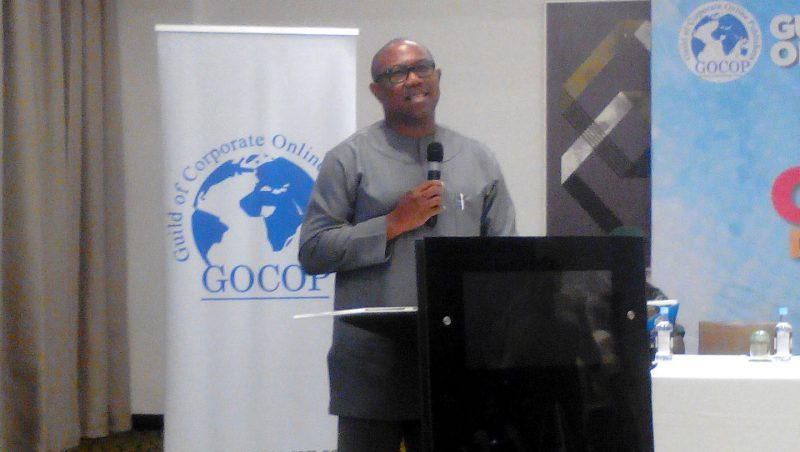 Peter Obi speaking in Lagos at the annual conference of the Guild of Corporate Online Publishers, GOCOP.