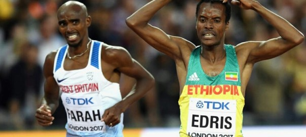 "LONDON, ENGLAND - AUGUST 12:  Muktar Edris of Ethiopia does the ""Mobot"" as Mohamed Farah of Great Britain looks on after crossing the finishline in the Men's 5000 Metres final during day nine of the 16th IAAF World Athletics Championships London 2017 at The London Stadium on August 12, 2017 in London, United Kingdom.  (Photo by Shaun Botterill/Getty Images)"