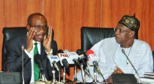 The Minister of Information and Culture, Alhaji Lai Mohammed (right), and the Governor of the Central Bank of Nigeria, Mr. Godwin Emefiele, when the Minister led stakeholders in the Creative Industry on a visit to the CBN Governor in Abuja on Tuesday.