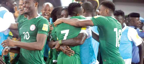 Mikel Obi celebrating with team-mates [Photo: Guardian Nigeria]