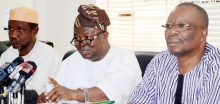 From left: Former President of the  Academic Staff Union of Universities (ASUU), Prof. Nasir Isa; President of ASUU, Biodun Ogunyemi; and the Vice President, Prof. Emmanuel Osodeke, at a news conference on the state of the nation in Abuja on Monday (14/8/17). 04255/14/8/2017/Albert otu/JAU/NAN