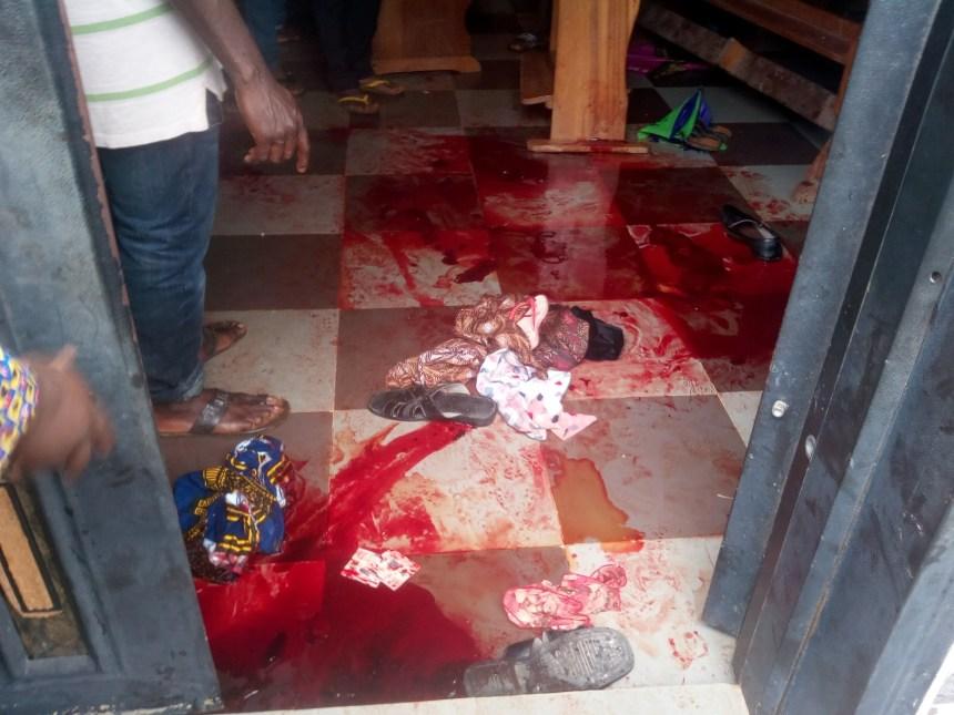Blood stains at the scene of the deadly shooting at St. Philip's Catholic Church, where an unknown gunman killed 11 persons and injured 18 others during 7:30 am church service in Umuezekwe Ofufe Amakwa community of Ozubulu, Ekwusigo LGA of Anambra on Sunday (6/8/17).  04074/6/8/2017/NAN-ENUGU/JAU/NAN