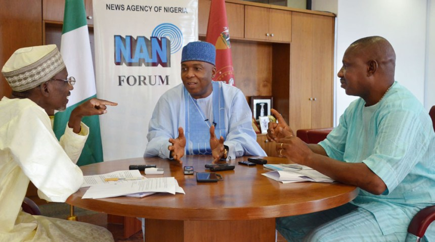 From left: Editor-in-Chief, News Agency of Nigeria (NAN), Mallam Yusuf Zango; Senate President Bukola Saraki; and a Deputy Editor-in-Chief/Head of Political Desk in NAN, Mr Olisanyem Ifeajika, during the Senate President's appearance on NAN Forum in  Abuja on on Tuesday (1/8/17).  03955/1/8/2017/ Jones Bamidele/NAN