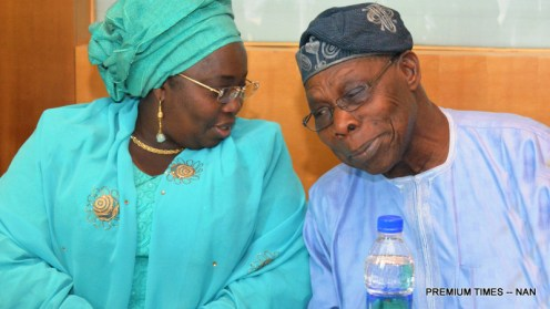 """FROM LEFT: Deputy Governor of Lagos State, Mrs Idiat Adebile (L) with Formal President Chief Olusegun Obasanjo at the launch of a book titled: """"Making Africa Work"""", in Lagos on Wednesday (2/8/17). 03985/2/8/2017/Dapo Kayode/BJO/NAN"""