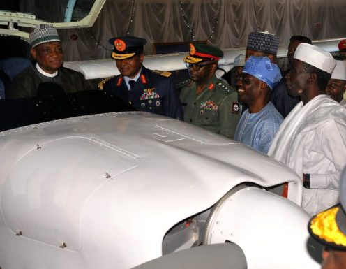 From left: Minister of Defence, retired Brig.-Gen Mansur Dan-Ali; Chief of the Air Staff, Air Marshal Sadique Abubakar; Chief of Defence, Gen Abayomi Olonishakin; Chairman Senate Committee on Air Force, Sen Duro Faseyi and Deputy Governor of Kaduna State, Mr Bala Bantex inspecting the Super Mushshak Air Craft during the Induction Ceremony of the Super Mushshak Air Craft in Nigerian Air Force Base in Kaduna on Tuesday (8/8/17) 04142/8/8/2017/Suleiman Shauiabu/ICE/NAN