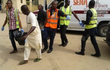 Officials of the State Emergency Management Agency (SEMA) evacuate bodies of persons killed in the Tuesday evening's suicide bomb attack on a village market in Konduga Local Government Area of Borno. The Police command in Borno confirmed that 16 persons were killed and 82 others wounded in the attack. 04314/16/8/2017/Rabiu Sani/BJO/NAN