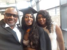 Yemisi Yekini with her parents after graduating in flying colours recently