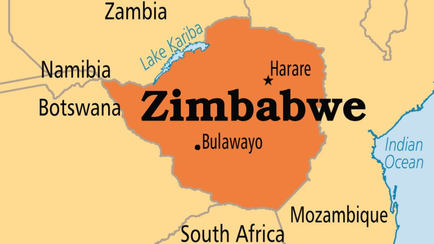 Map showing Zimbabwe and Zambia