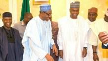 President Muhammadu Buhari with Vice President Yemi Osinbajo and Senate President Bukola Saraki