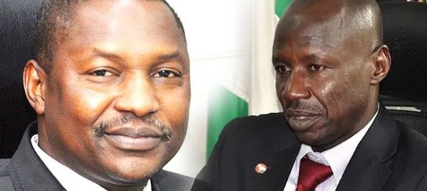 Nigeria's attorney general of the federation and Minister of Justice Abubakar Malami and, suspended EFCC chairman Ibrahim Magu.